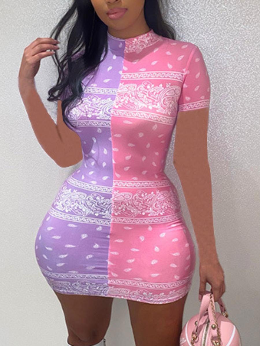 LW Casual Half A Turtleneck Cashew Print Multicolor Mini Dress