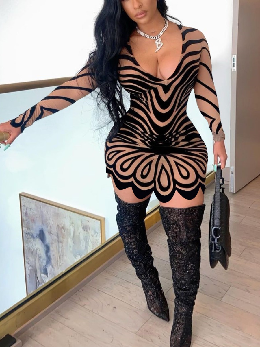 Lovely Terylene/cotton Street Print Regular sleeve Basic Skinny Long Sleeve U Neck Mini A Line Yes(Elastic) Positioning Print Dress