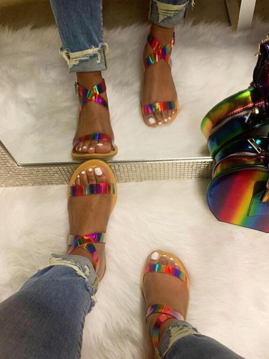 Lovely Casual Tie-dye Bandage Design Multicolor Sandals