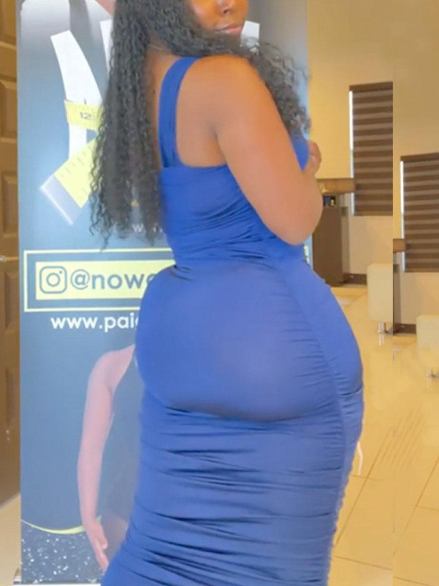 Lovely Casual One Shoulder Basic Skinny Blue Mid Calf Dress