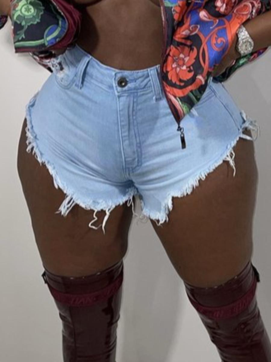 LW Casual High-waisted Raw Edge Baby Blue Denim Shorts