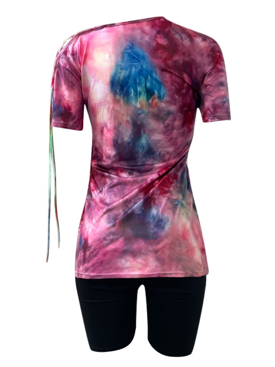 Lovely Street Tie Dye Bandage Hollow-out Design Multicolor Two Piece Shorts Set