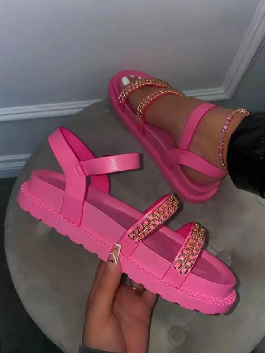 Lovely Casual Chain Decoration Rose Red Sandals
