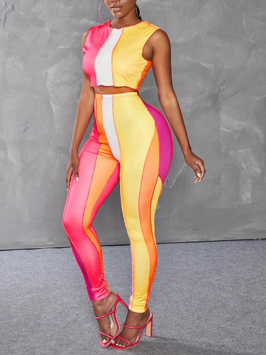 LW Casual Color-lump Patchwork Multicolor Two Piece Pants Set
