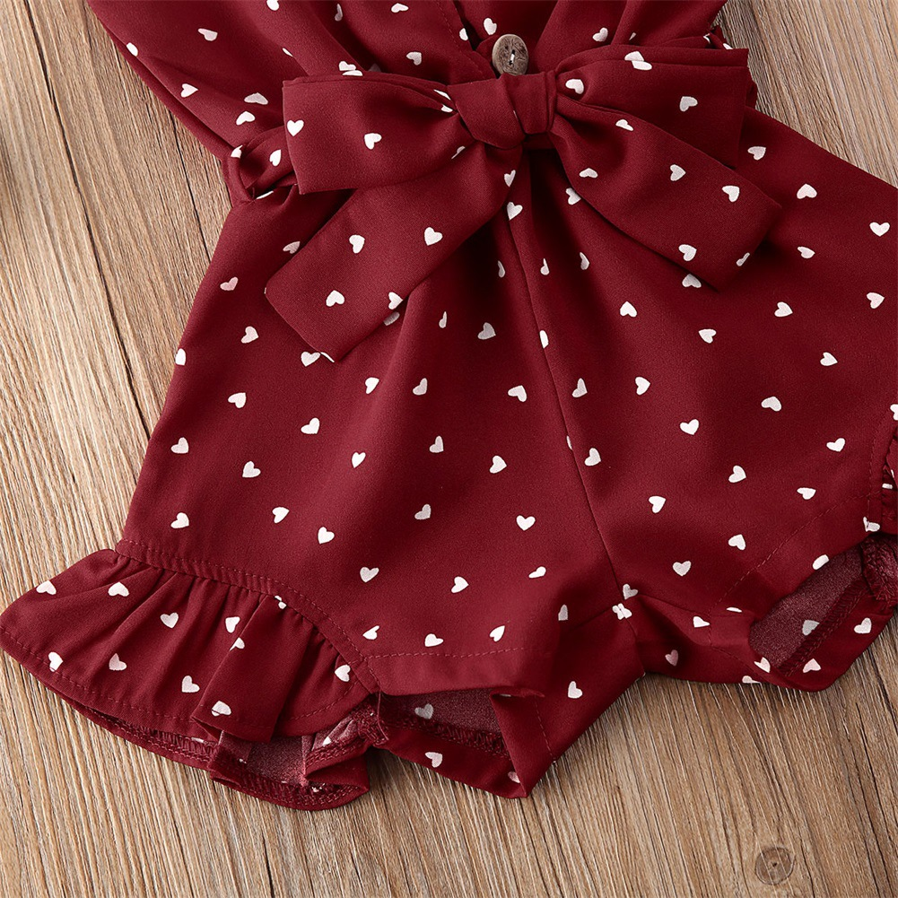 Lovely Girl Street Dot Print Bow-tie Bandage Design Wine Red One-piece Romper