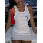 Lovely Street U Neck Rib-Knit Print White Mini Dress