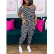 Lovely Casual Off The Shoulder Striped Lace-up Black One-piece Jumpsuit