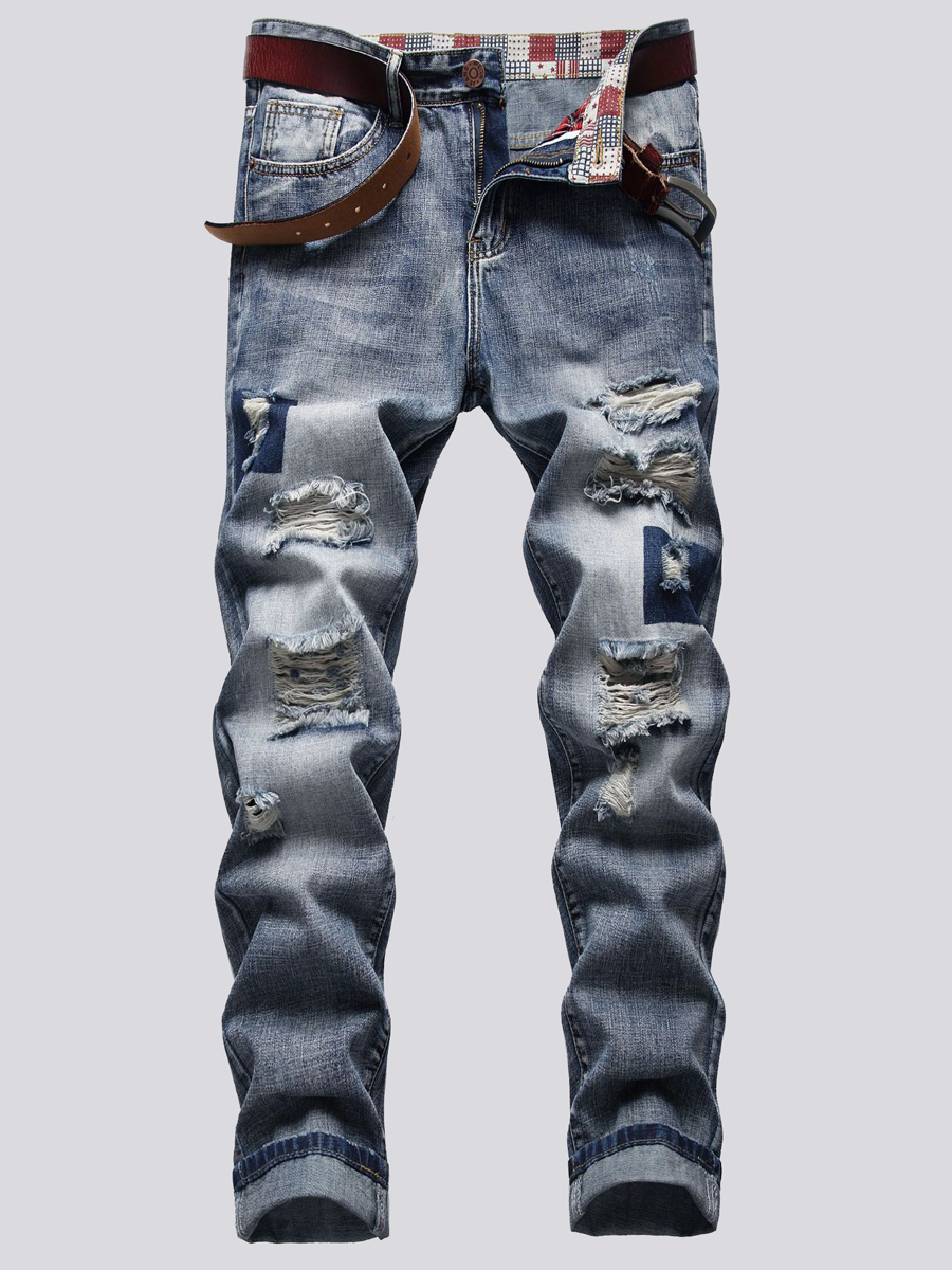 Lovely Men Casual Mid Waist Ripped Baby Baby Blue Jeans, lovely, Men Jeans  - buy with discount