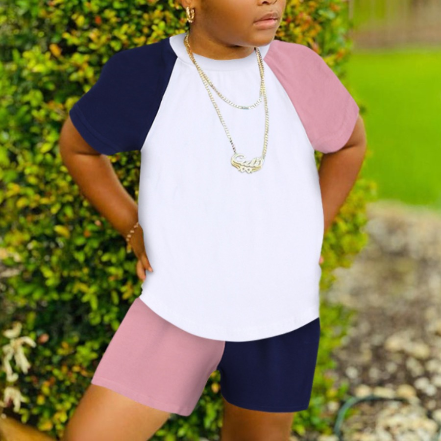 LW COTTON Girl Sporty O Neck Color-lump Dusty Pink Two Piece Shorts Set