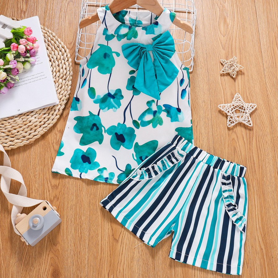 LW COTTON Girl Street Bow-tie Decoration Striped Baby Blue Two Piece Shorts Set