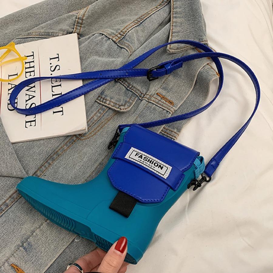 Lovely Street Boot Design Blue Crossbody Bag