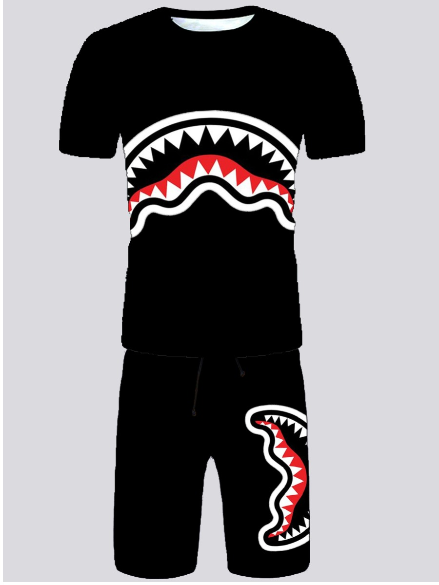 LW Men Casual O Neck Geometric Print Black Two Piece Shorts Set