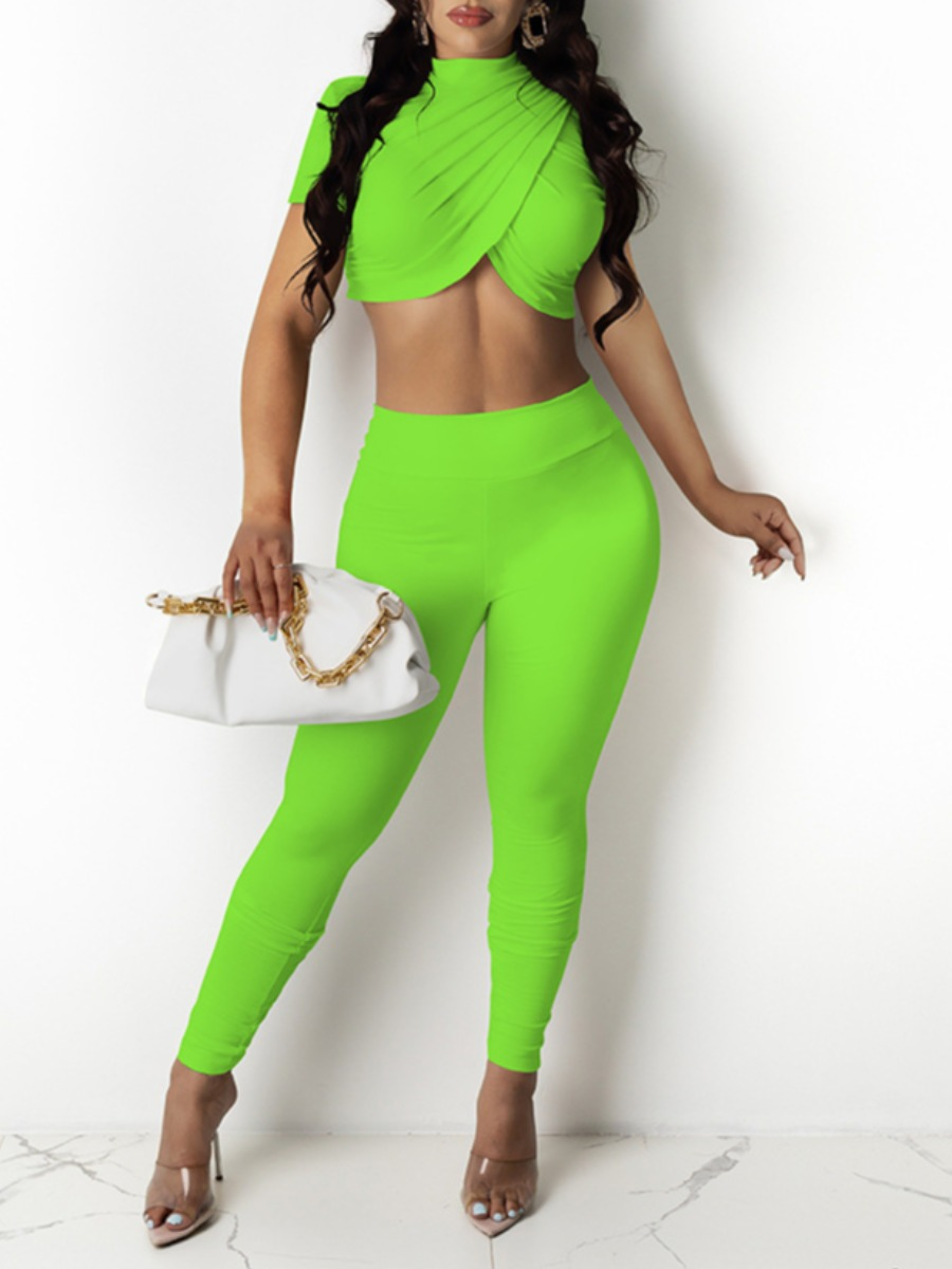 LW Street Mandarin Collar Cross-over Design Green Two Piece Pants Set