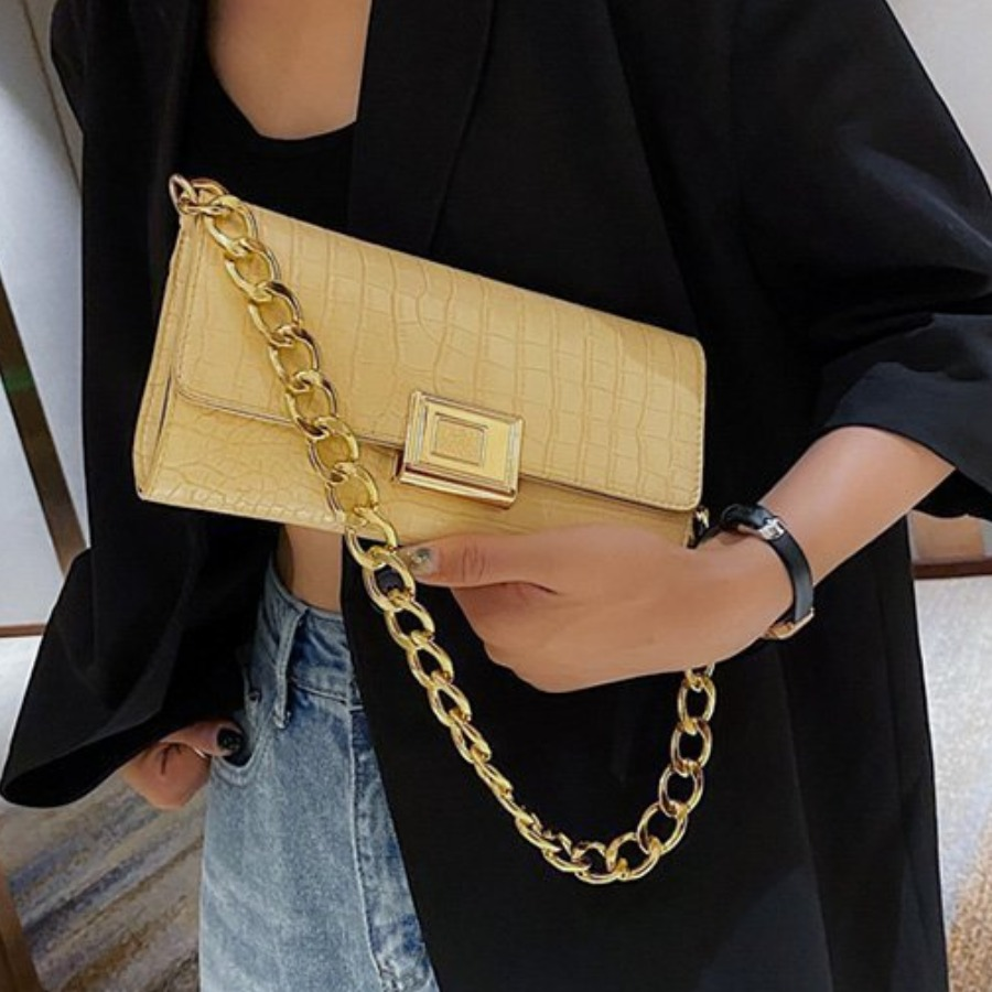 LW Casual Chain Strap Yellow Shoulder Bag