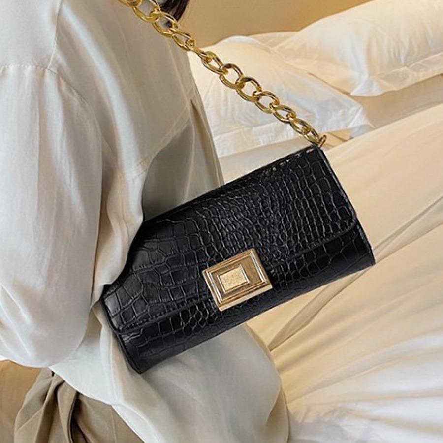 LW Casual Chain Strap Black Shoulder Bag