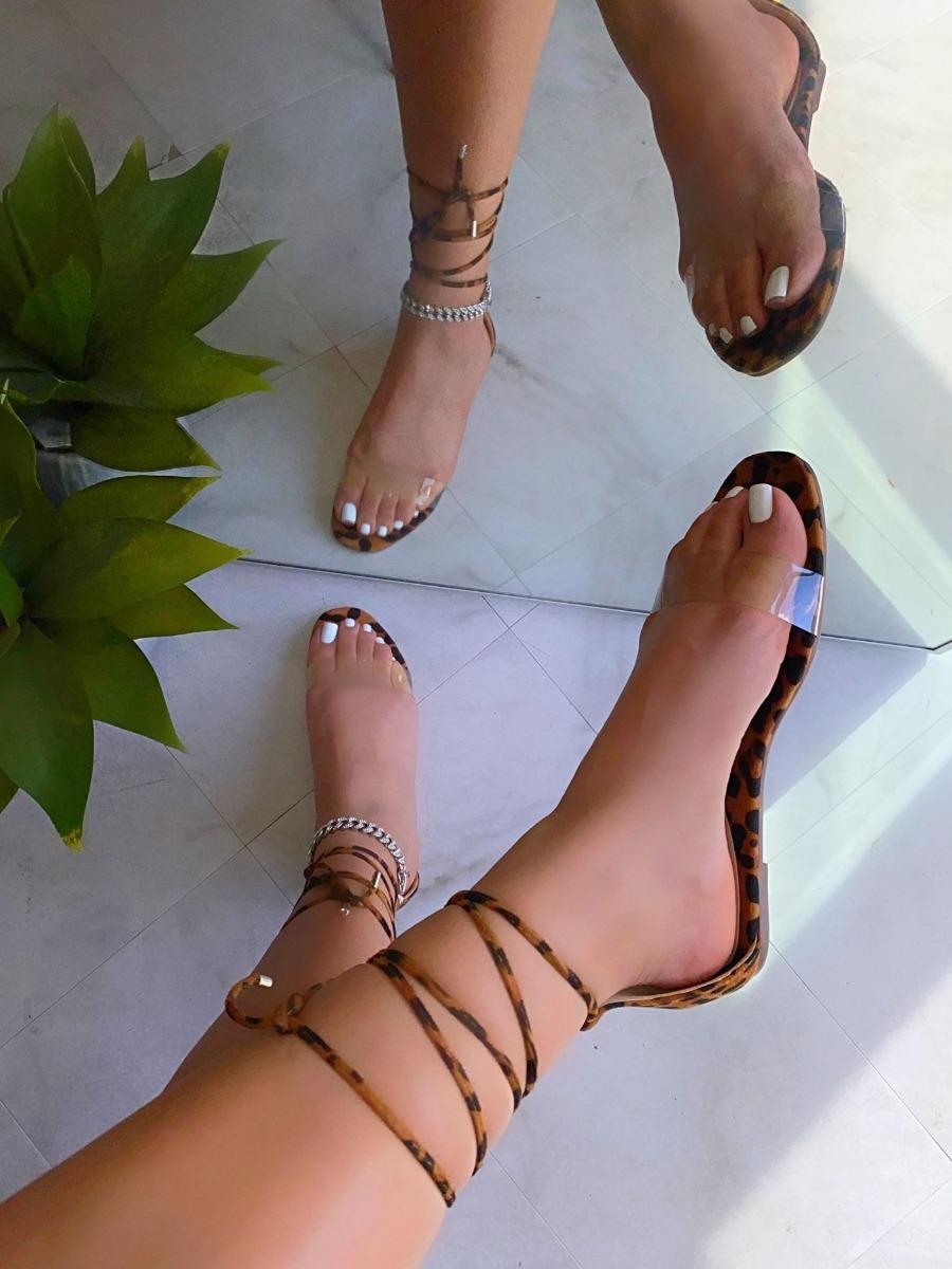 Lovely Casual Leopard Print Tie Leg Sandals