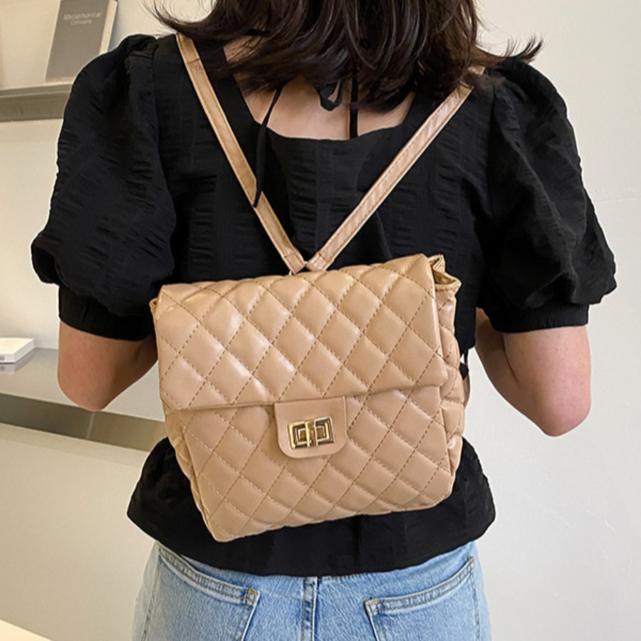Lovely Casual Quilted Slide Apricot Backpack