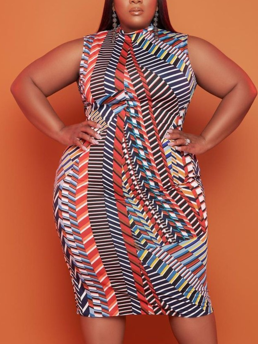 Lovelywholesale coupon: LW BASICS Plus Size Casual O Neck Geometric Print Multicolor Knee Length Dress