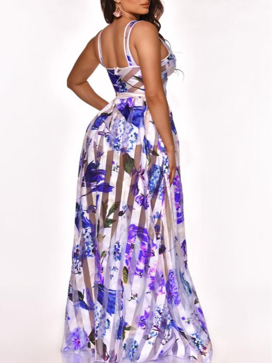 Lovely Elegant Floral Print See-through Blue Floor Length Dress