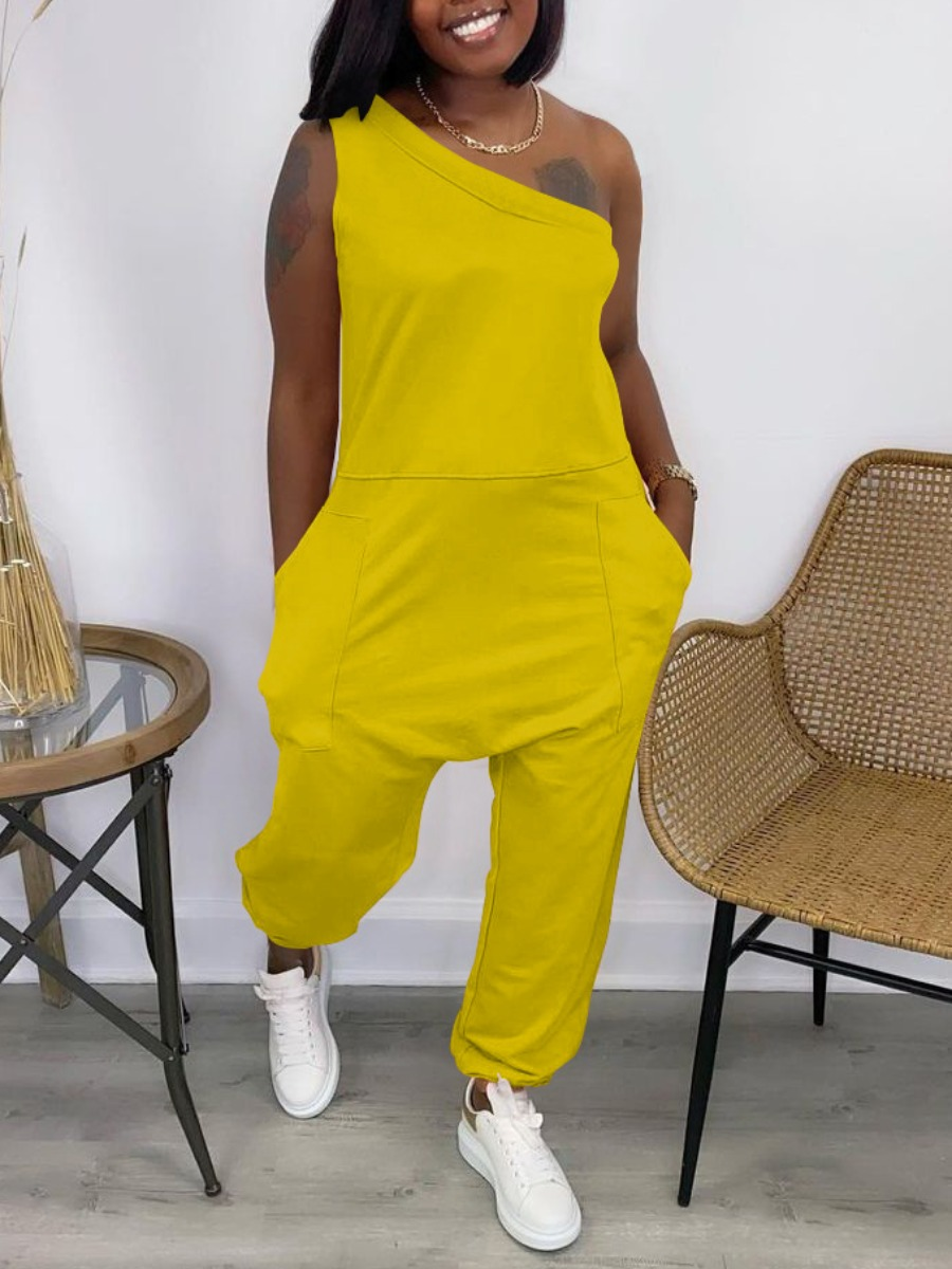 Lovely Street One Shoulder Pocket Design Yellow One-piece Jumpsuit