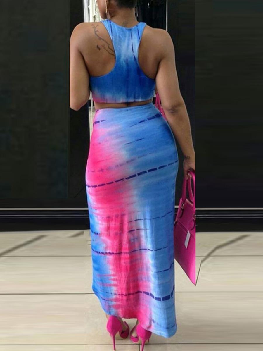 Lovely Street Tie Dye Fold Design Blue Two Piece Skirt Set