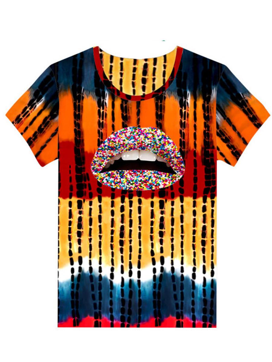Lovely Casual Lip Print Tie-dye Multicolor T-shirt