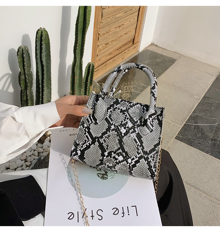 LW Casual Cobra Print Chain Strap Grey Crossbody Bag