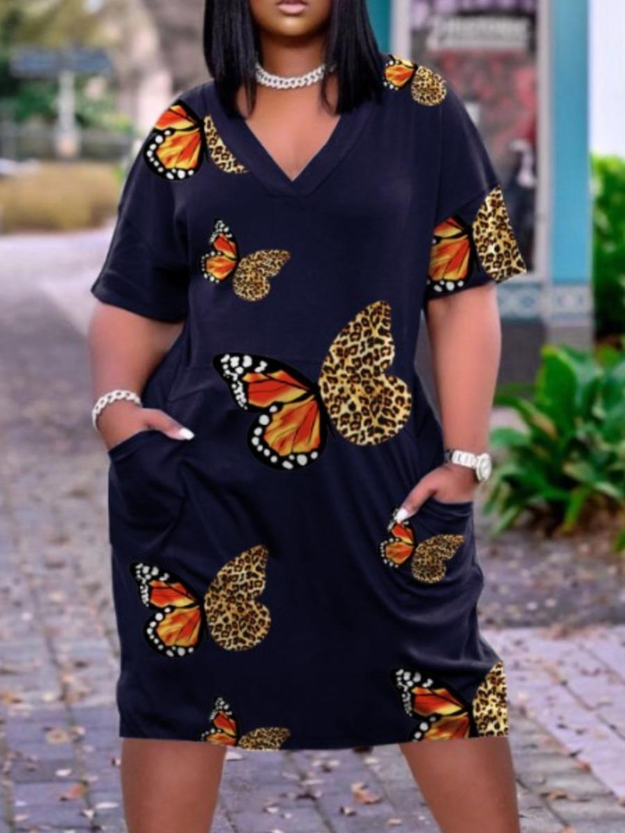 LW Plus Size Casual V Neck Butterfly Print Deep Blue Knee Length Dress
