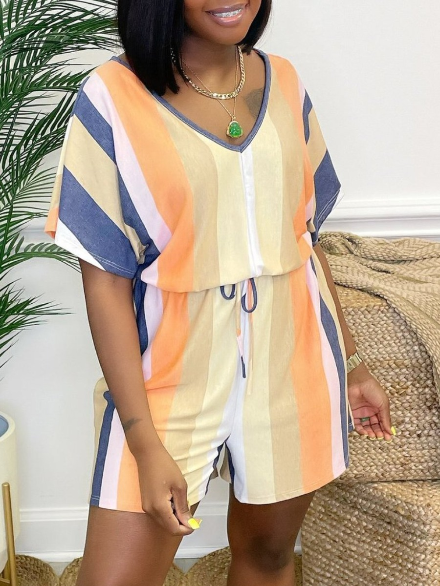 Lovelywholesale coupon: LW Casual Dropped Shoulder Striped Orange One-piece Romper