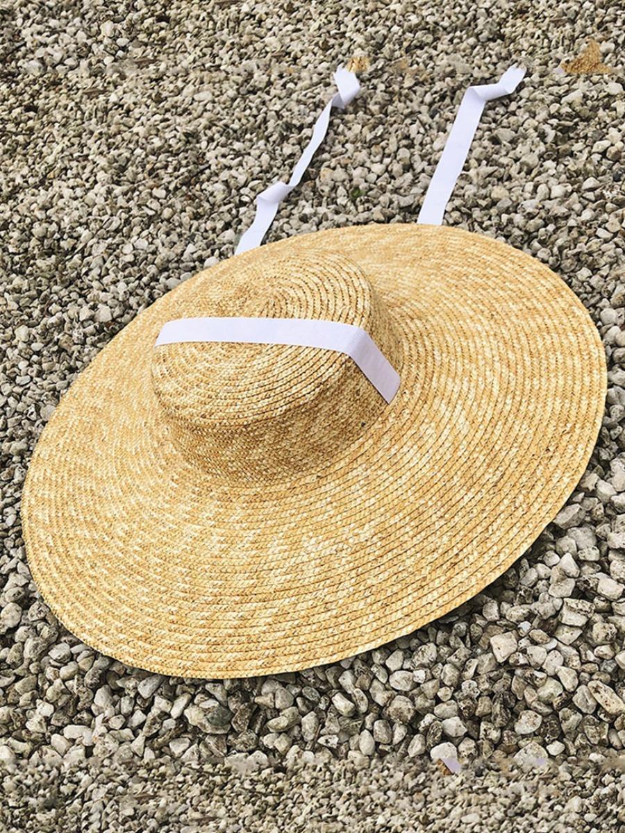 Lovely Boho Straw White Hat (Diameter 48.5 CM)