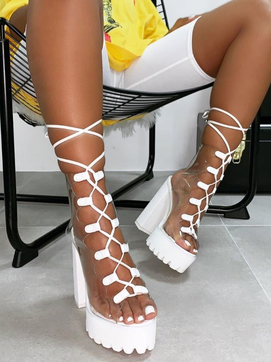 LW SXY Tie Leg White Heels