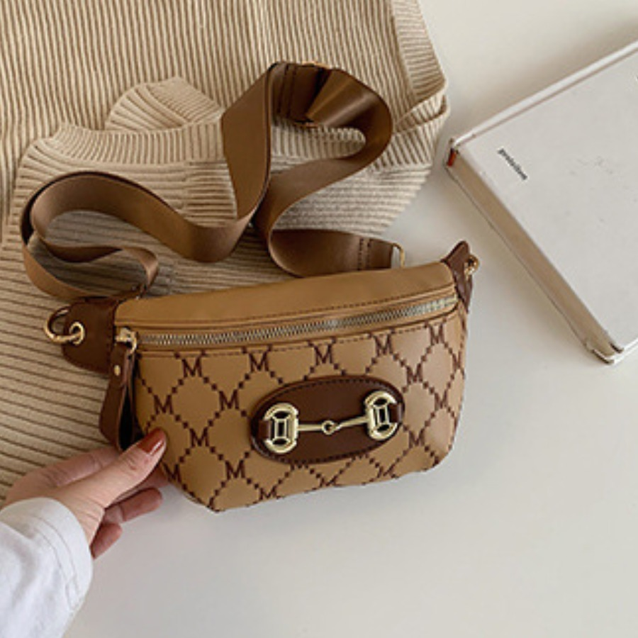 Lovely Casual Geometric Decoration Brown Bum Bag