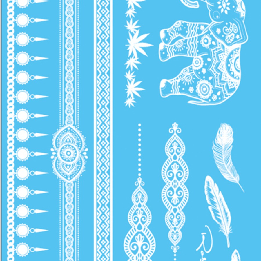 Lovelywholesale coupon: LW Boho Animal Geometric Milk White Body Tattoo