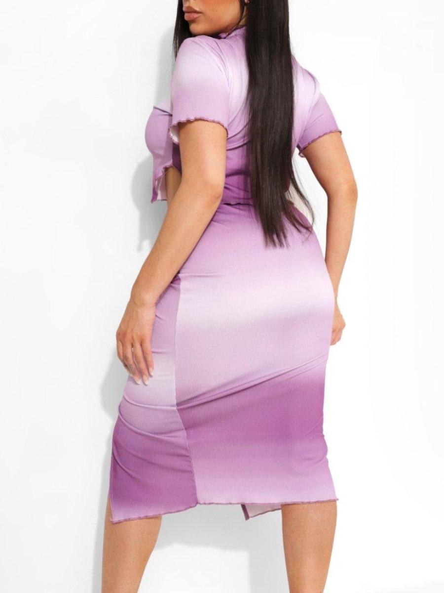 Lovely Plus Size Casual Tie-dye Drawstring Slit Purple Two-piece Skirt Set