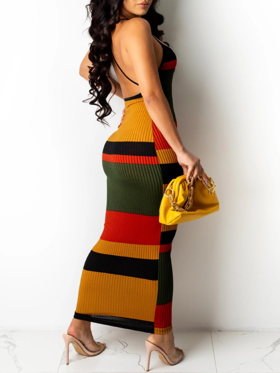 Lovely Sexy Striped Backless Rib-Knit Red Ankle Length Dress