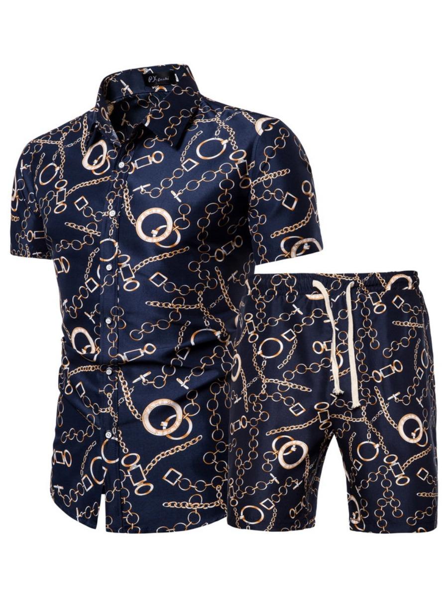 LW Men Stylish Chain Print Drawstring Navy Blue Two Piece Shorts Set