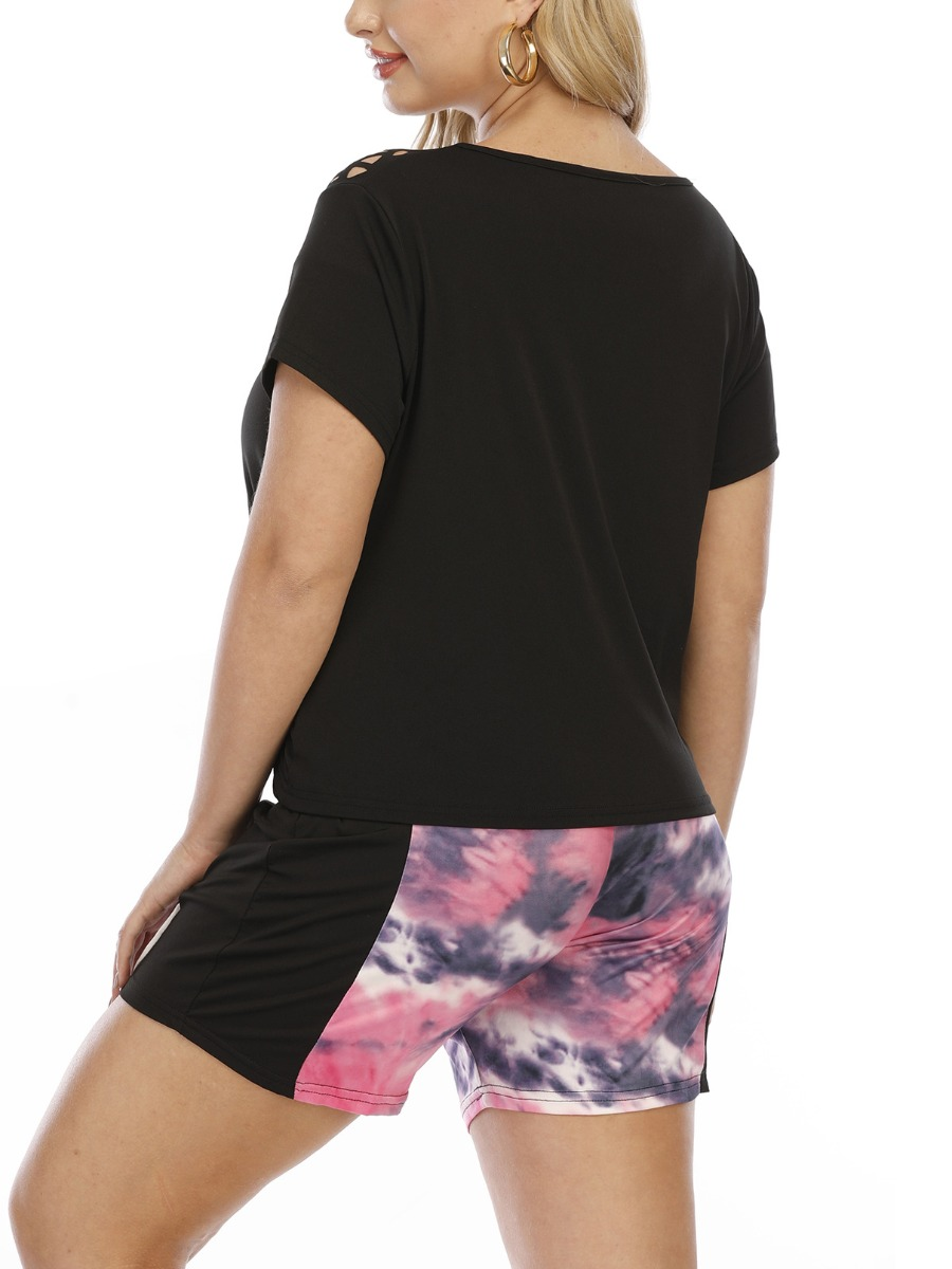 Lovely Plus Size Casual Tie-dye Elastic Pink Shorts