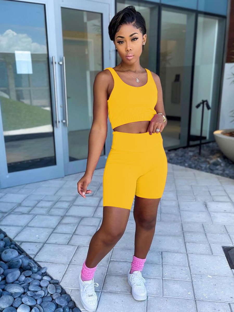 Lovely Sporty U Neck Elastic Yellow Two Piece Shorts Set