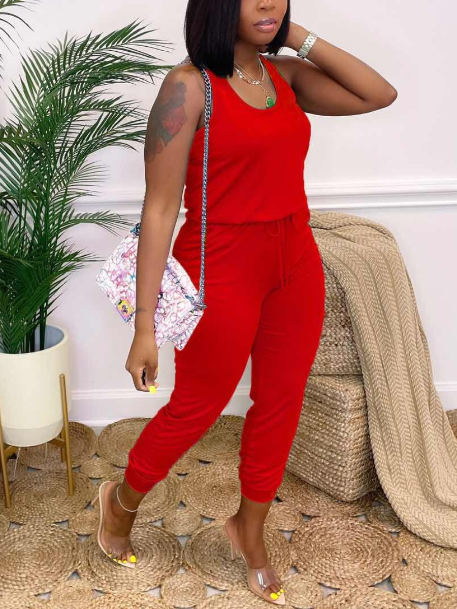 Lovely Casual U Neck Drawstring Red One-piece Jumpsuit