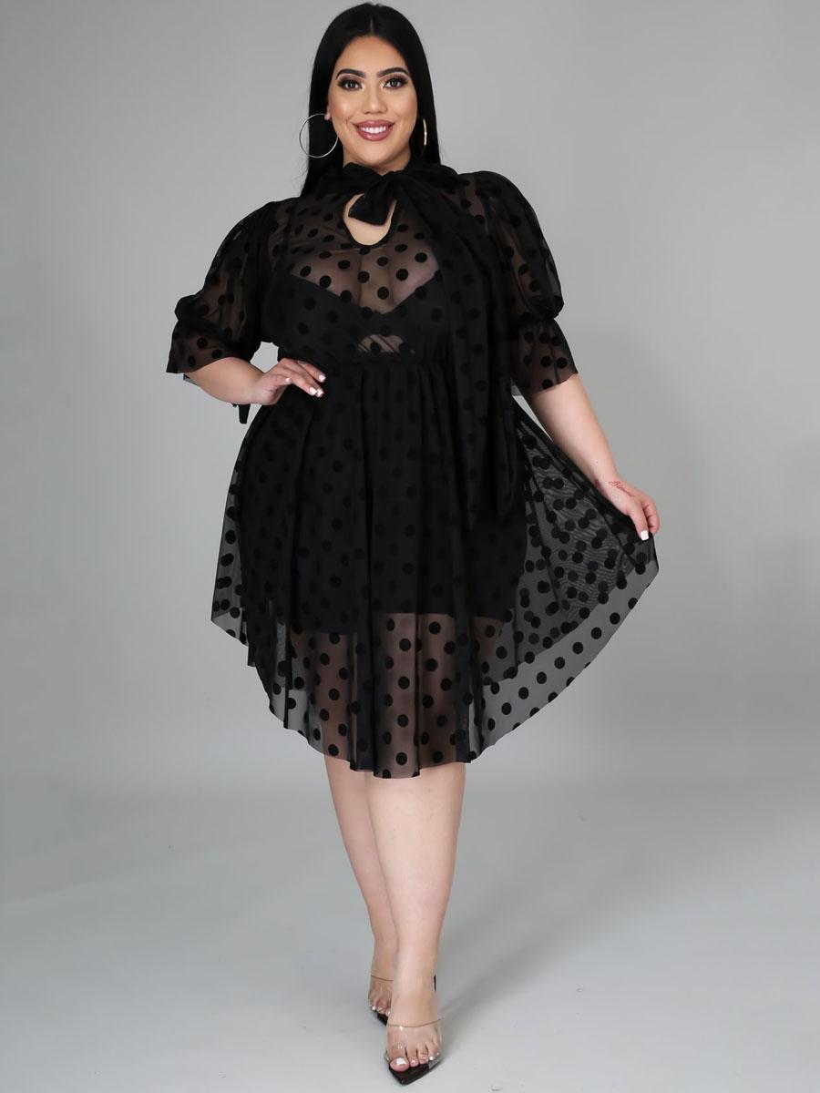 Lovely Plus Size Sweet Dot See-through Ruffle Design Black Knee Length Dress