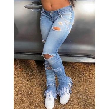 LW Street Ripped Tassel Design Blue Jeans