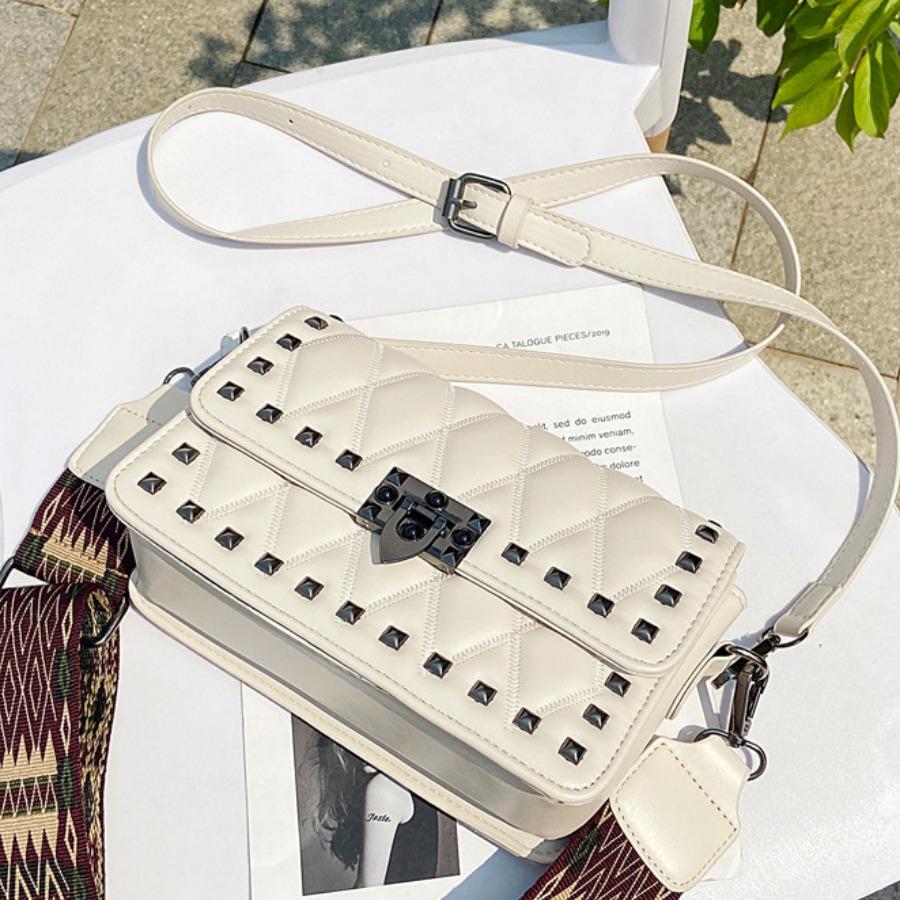 Lovely Casual Rivet Decoration White Crossbody Bag