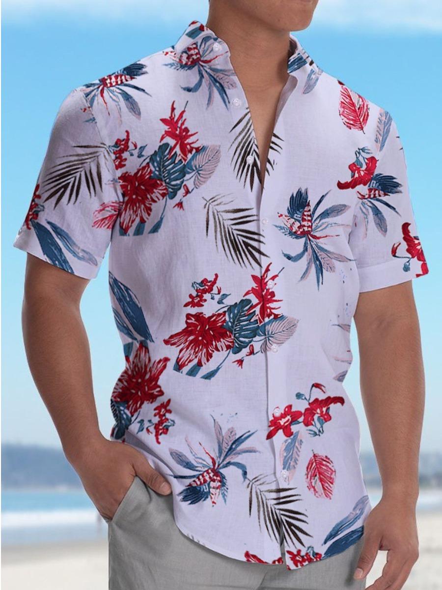 Lovelywholesale coupon: LW Men Street Turndown Collar Floral Print White Shirt