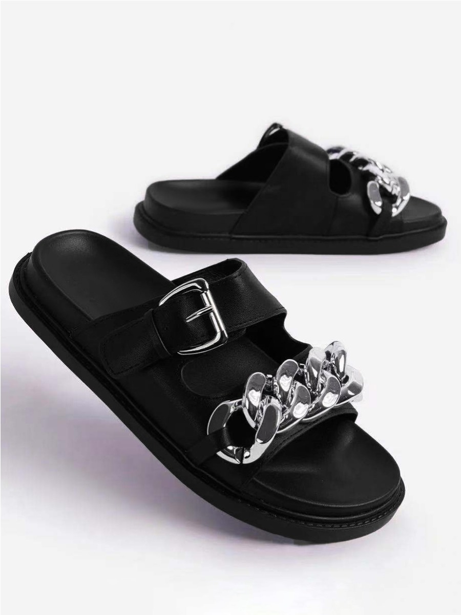 Lovely Casual Square Buckle Chain Decoration Black Slippers