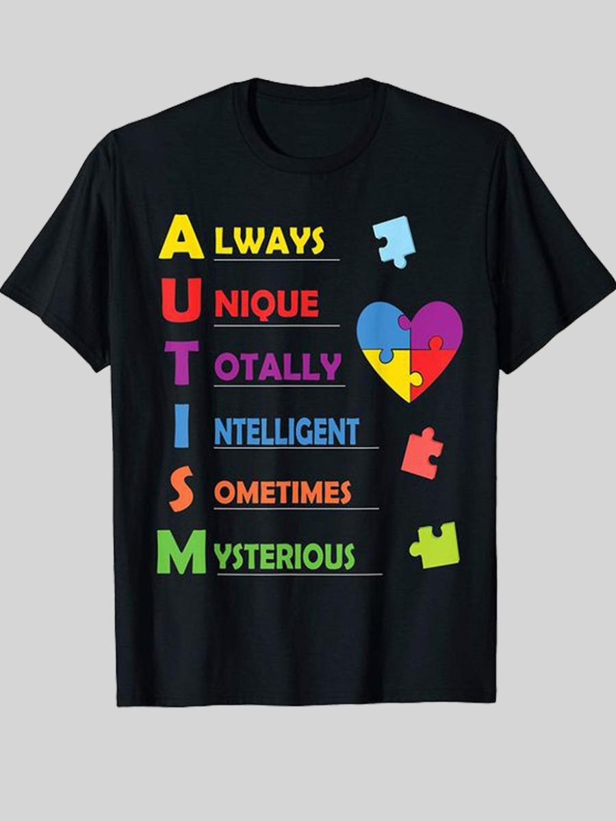 Lovely Men Casual Heart-shaped Letter Print Black T-shirt