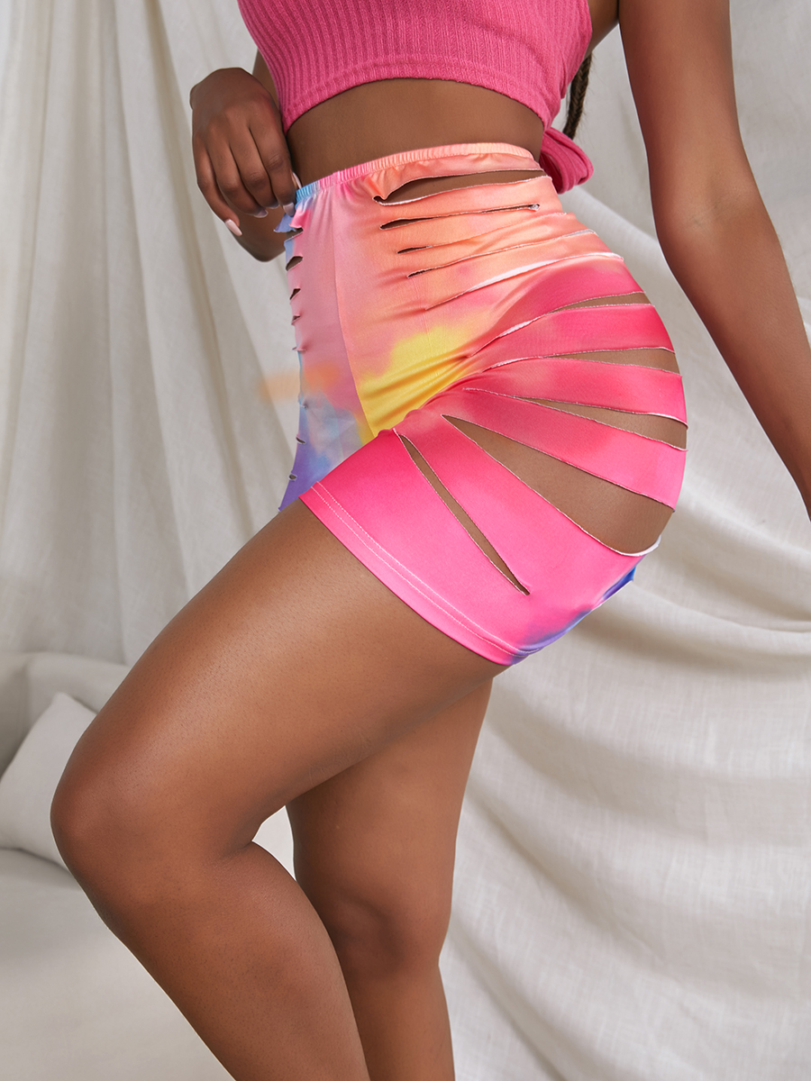 LW SXY Tie-dye Ripped Rose Red Shorts