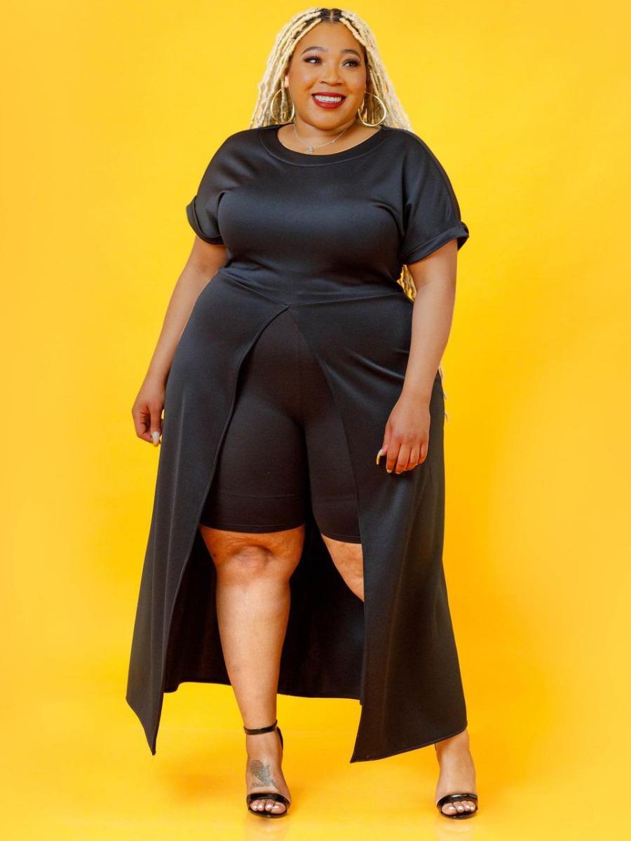 Lovely Plus Size Casual Round Neck Split Black Two-piece Shorts Set