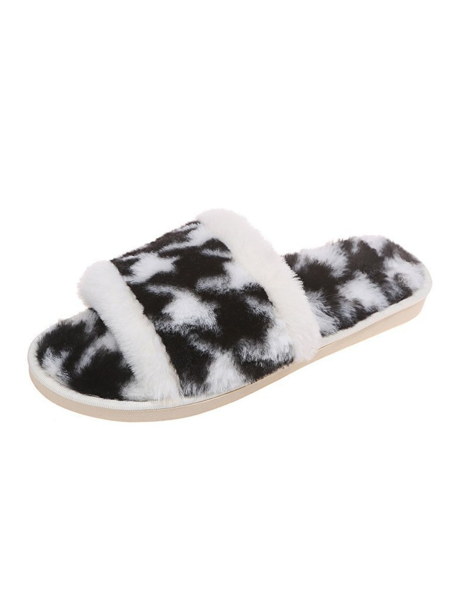 LW Casual Fluffy Black Slippers