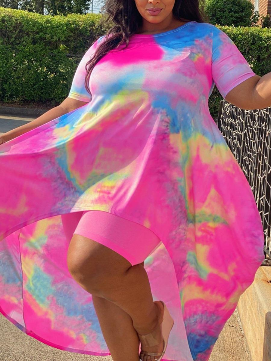 LW BASICS Plus Size Casual Round Neck Tie-dye Pink Two-piece Shorts Set