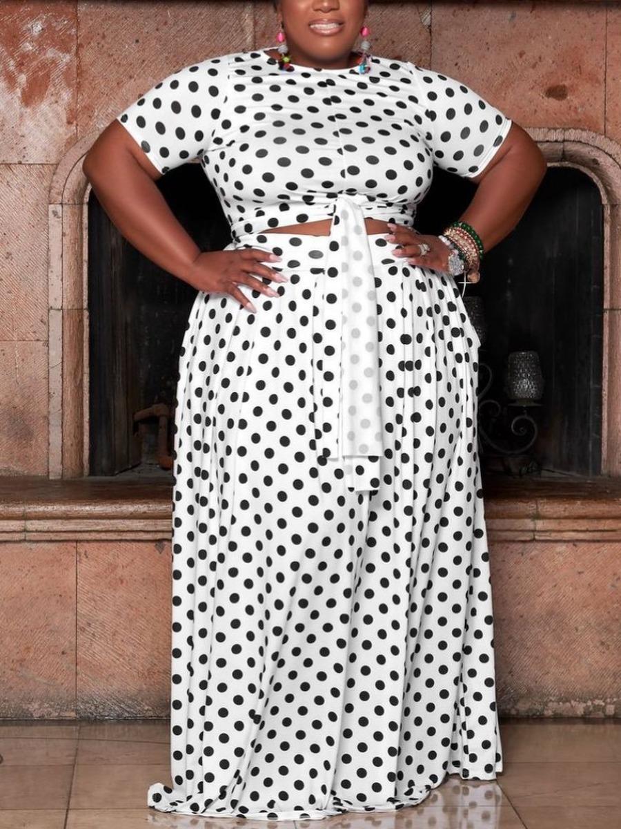 Lovely Plus Size Boho Dot Print Bandage Design White Two-piece Skirt Set